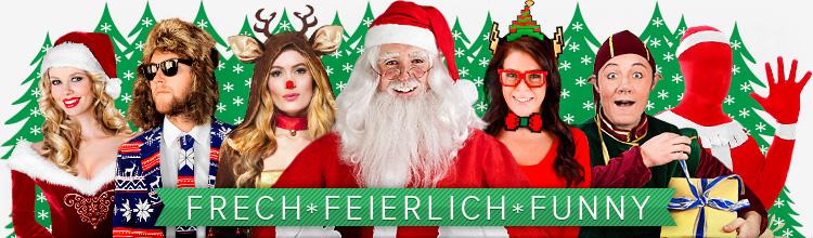 Weihnachtsmänner, Engel und weihnachtliche Kostüme - frech, feierlich, funny