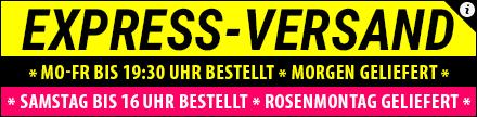 Express-Versand: Heute bis 19:30 Uhr bestellt - morgen geliefert! Wochenend-Express: Samstag bis 16:00 Uhr bestellt, Rosenmontag geliefert!