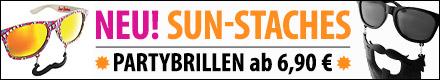 Der neueste Trend für Party und Festival: Sun-Staches Partybrillen schon ab Euro 6,90!