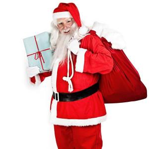 Santa mit den Gewinnpaketen