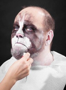 11b. Applying white make-up to your chin & beard